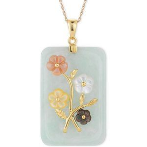 Jade Flower Carved Pendant (25x38mm) 14K GP/SS